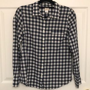 J Crew The Perfect Shirt Navy Blue White Gingham